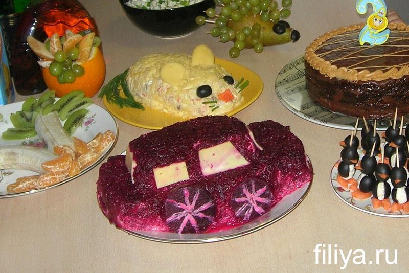 Оформление салатов для детских праздников